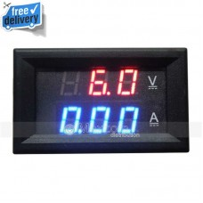 Mini Dual Display Combo Meter Red Blue LED DC 0-100V 0-100A