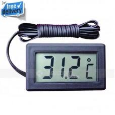 Digital Panel LCD Temperature Meter Thermometer Display Celsius 2 Meter Black