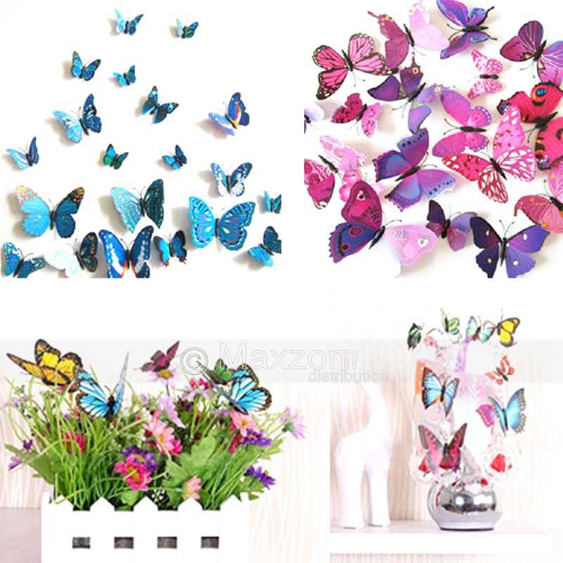 12pcs pegatina sala hogar adhesivos de pared 3d mariposa - Adhesivos pared 3d ...